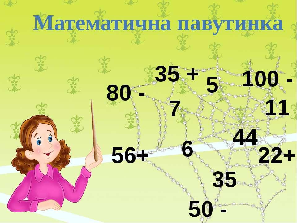 Математична павутинка 56+ 6 7 80 - 50 - 5 35 + 35 100 - 11 22+ 44
