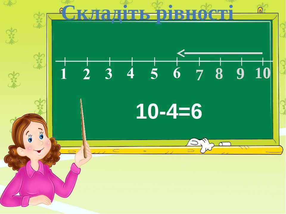 7 8 9 10 Складіть рівності 10-4=6