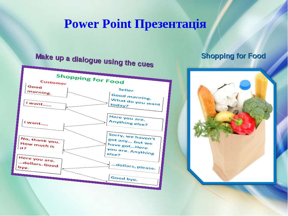 Make up a dialogue using the cues Shopping for Food Power Point Презентація