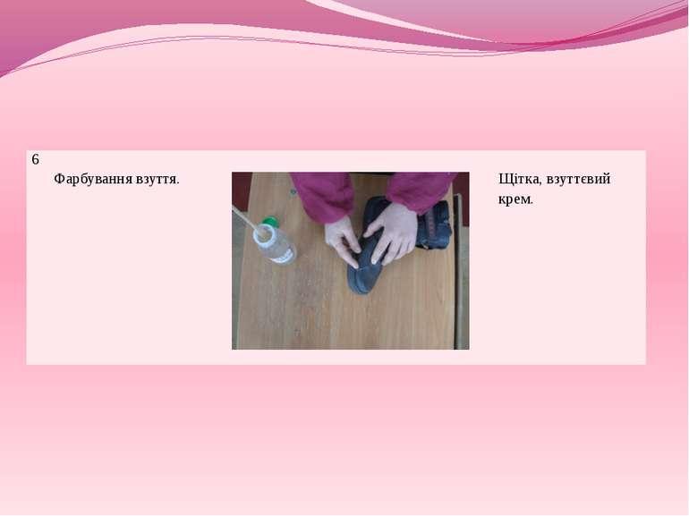 6 Фарбування взуття. Щітка, взуттєвий крем.