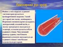 Ламінарний рух крові Майже у всіх відділах судинної системи кров рухається ци...