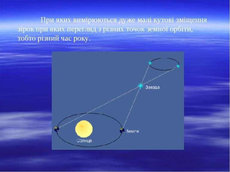 При яких вимірюються дуже малі кутові зміщення зірок при яких перегляд з різн...