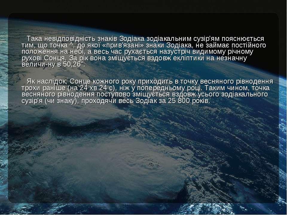 Така невідповідність знаків Зодіака зодіакальним сузір'ям пояснюється тим, що...