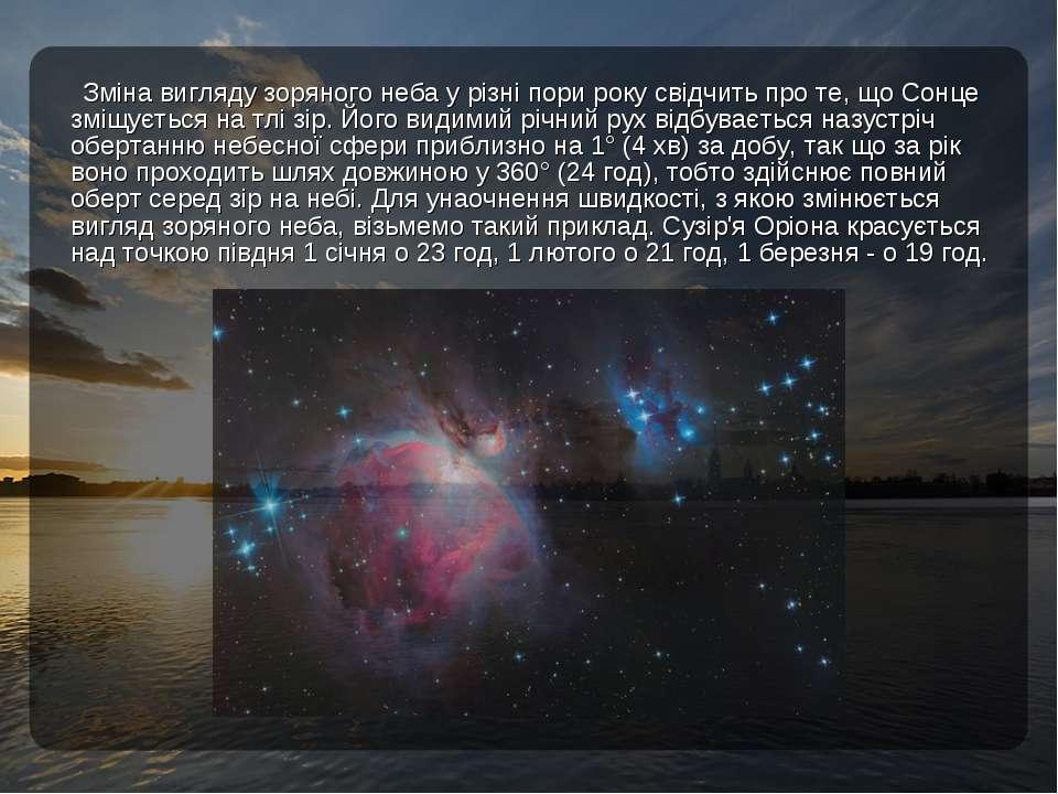 Зміна вигляду зоряного неба у різні пори року свідчить про те, що Сонце зміщу...