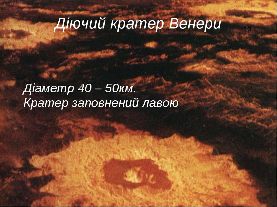 Діючий кратер Венери Діаметр 40 – 50км. Кратер заповнений лавою 13
