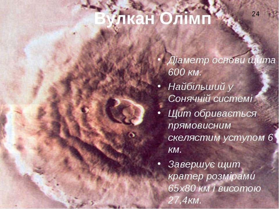 Вулкан Олімп Діаметр основи щита 600 км. Найбільший у Сонячній системі Щит об...