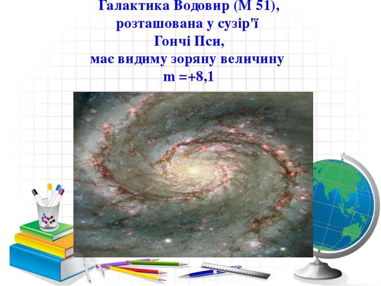 ГалактикаВодовир(М51), розташована у сузір'ї ГончіПси, має видиму зоряну ...