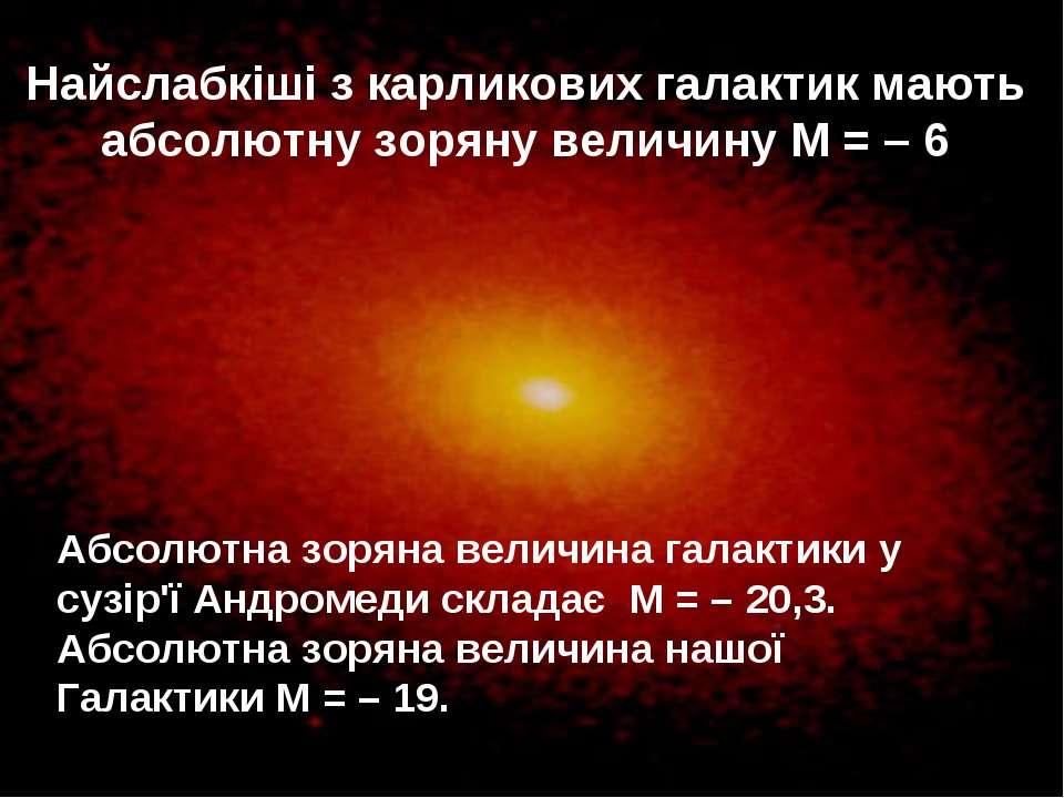 Найслабкіші з карликових галактик мають абсолютну зоряну величину М= –6 Абс...