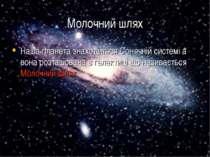 Молочний шлях Наша планета знаходиться Сонячній системі а вона розташована в ...