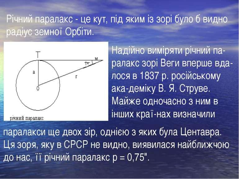 Надійно виміряти річний па ралакс зорі Веги вперше вда лося в 1837 р. російсь...