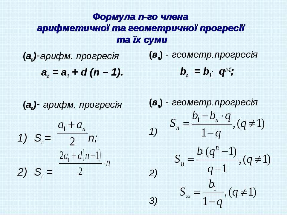 Формула n-го члена арифметичної та геометричної прогресії та їх суми (аn)-ари...