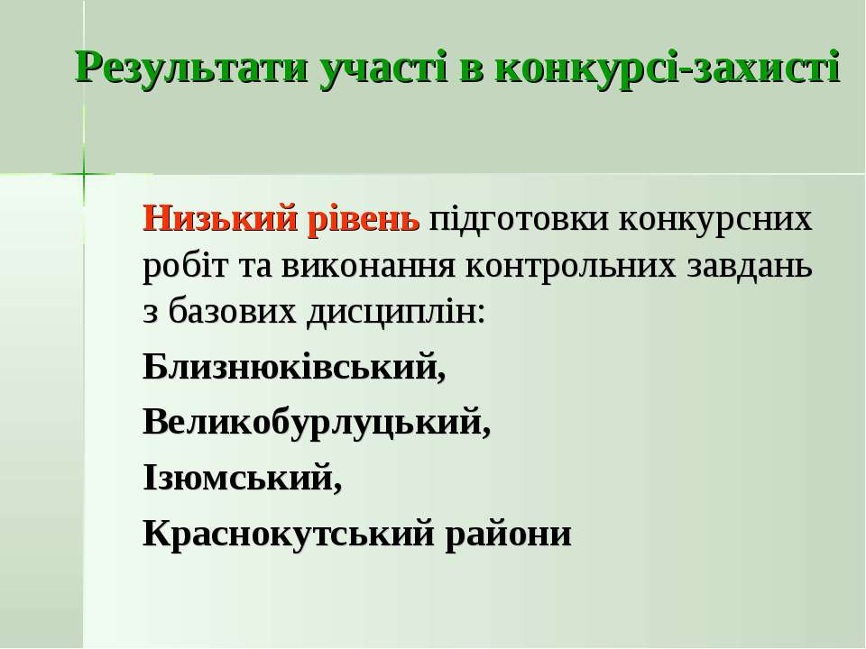 Результати участі в конкурсі-захисті Низький рівень підготовки конкурсних роб...