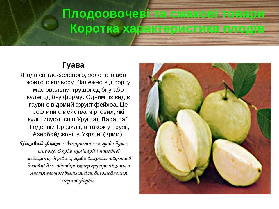 Плодоовочеві та смакові товари Коротка характеристика плодів Гуава Ягода світ...