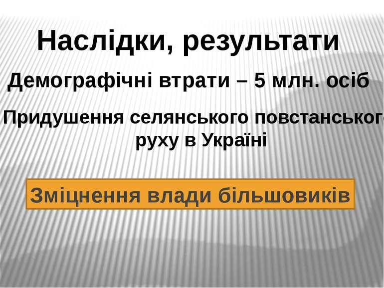Наслідки, результати Демографічні втрати – 5 млн. осіб Придушення селянського...