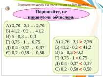 Порівняйте, не виконуючи обчислень А) 2,76 3,1 … 2,76 Б) 41,2 0,2 … 41,2 В) 5...