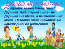 Маша Ніна Даринка 1 2 3 Сестричок звати Маша, Ніна і Даринка. Найстарша з них...