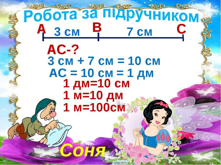 Соня А В С 3 см 7 см АС-? 3 см + 7 см = 10 см АС = 10 см = 1 дм 1 дм=10 см 1 ...
