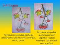 3-4 Етапи Легкими прозорими фарбами позначаємо колір натури: гілочки, листя, ...