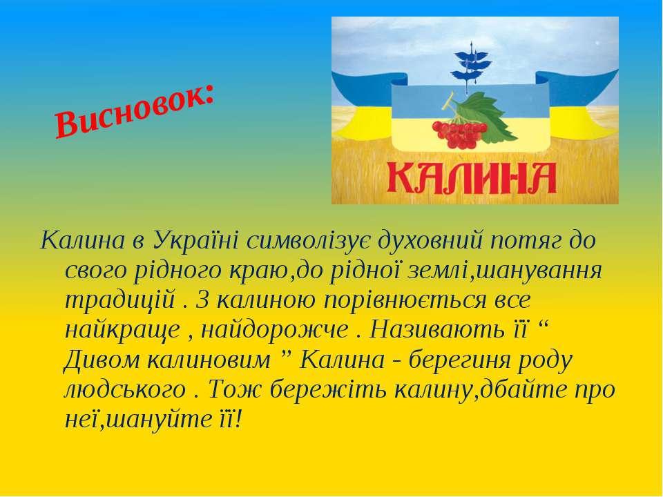 Висновок: Калина в Україні символізує духовний потяг до свого рідного краю,до...