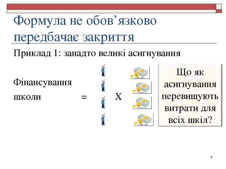 Формула не обов'язково передбачає закриття Приклад 1: занадто великі асигнува...