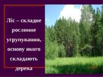 Ліс – складне рослинне угрупування, основу якого складають дерева