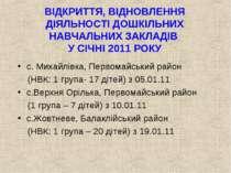 ВІДКРИТТЯ, ВІДНОВЛЕННЯ ДІЯЛЬНОСТІ ДОШКІЛЬНИХ НАВЧАЛЬНИХ ЗАКЛАДІВ У СІЧНІ 2011...