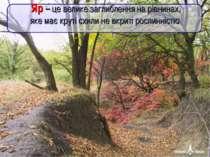 Яр – це велике заглиблення на рівнинах, яке має круті схили не вкриті рослинн...