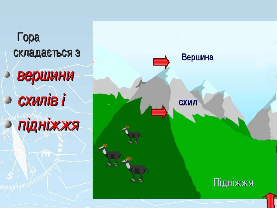 Гора складається з вершини схилів і підніжжя Вершина схил Підніжжя