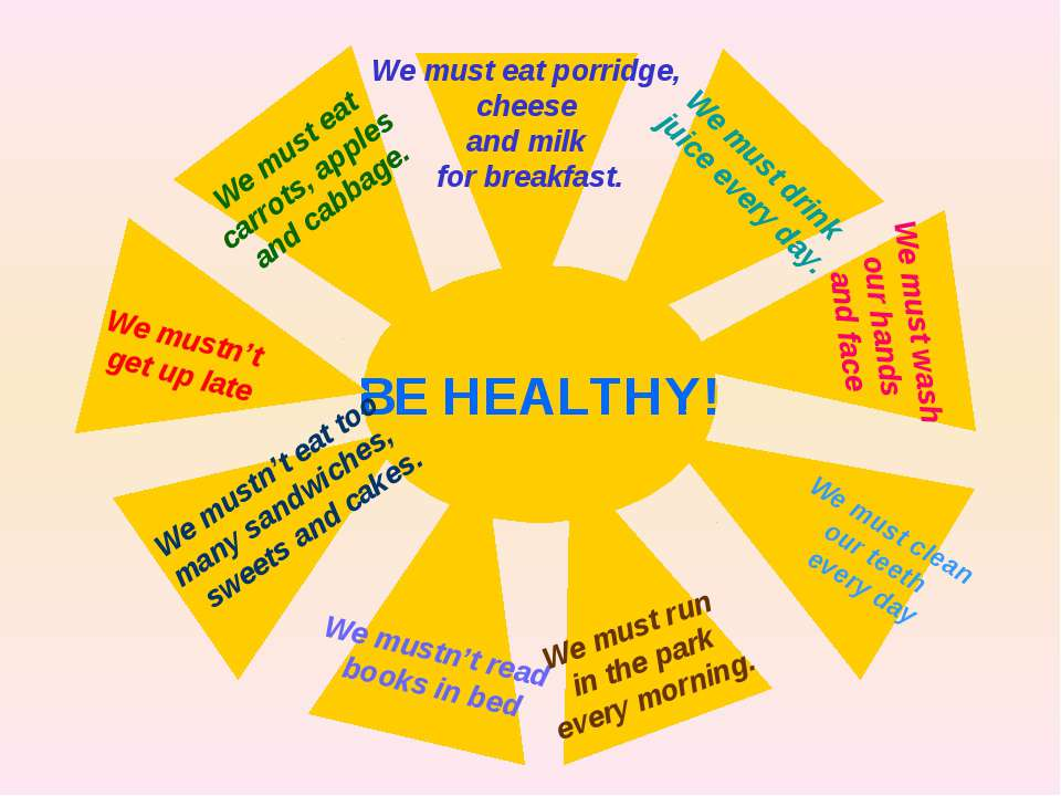 BE HEALTHY! We must eat porridge, cheese and milk for breakfast. We must drin...