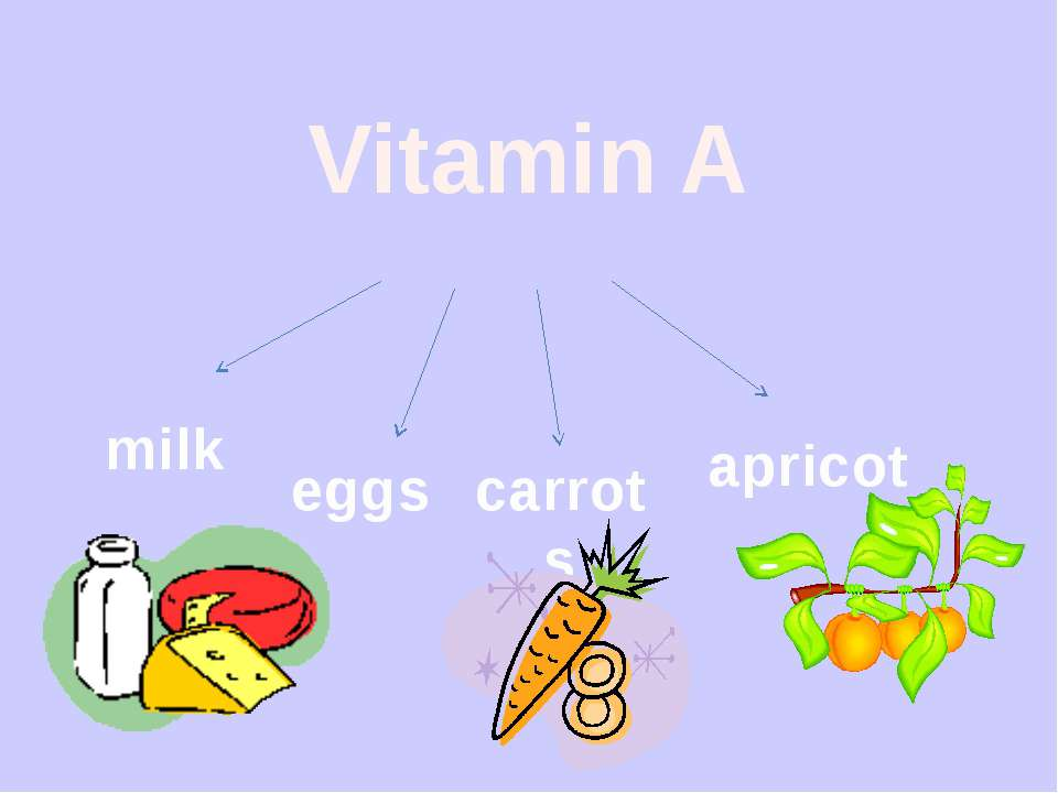 Vitamin A milk eggs carrots apricot