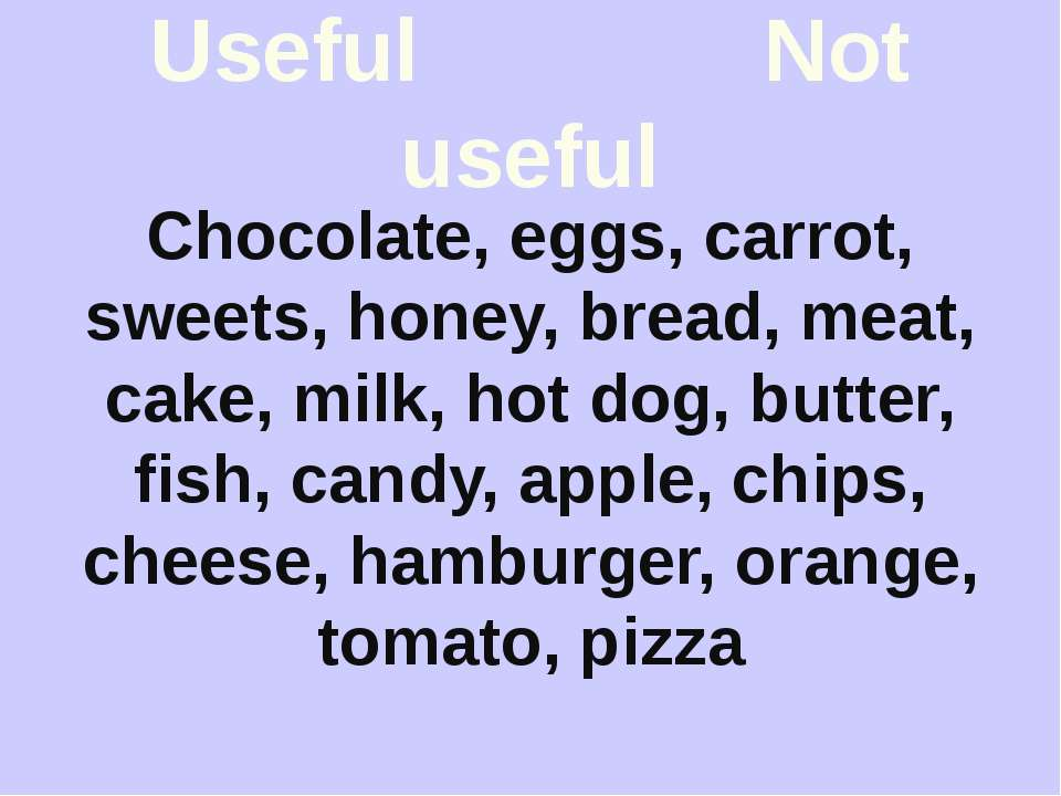 Useful Not useful Chocolate, eggs, carrot, sweets, honey, bread, meat, cake, ...