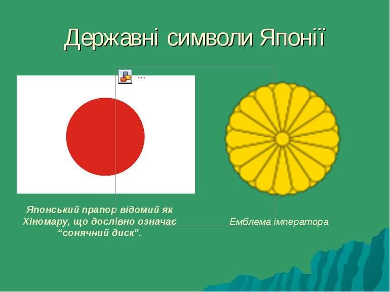 Державні символи Японії Японський прапор відомий як Хіномару, що дослівно озн...