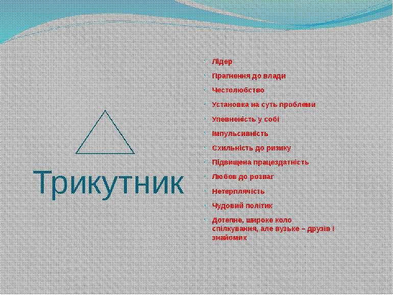Трикутник Лідер Прагнення до влади Честолюбство Установка на суть проблеми Уп...