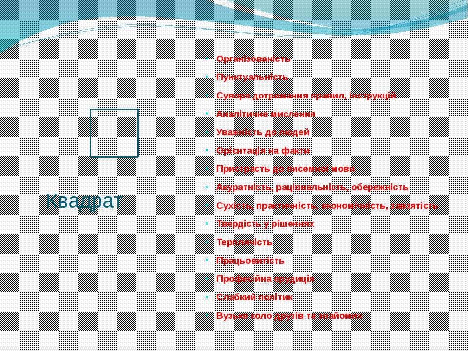 Квадрат Організованість Пунктуальність Суворе дотримання правил, інструкцій А...