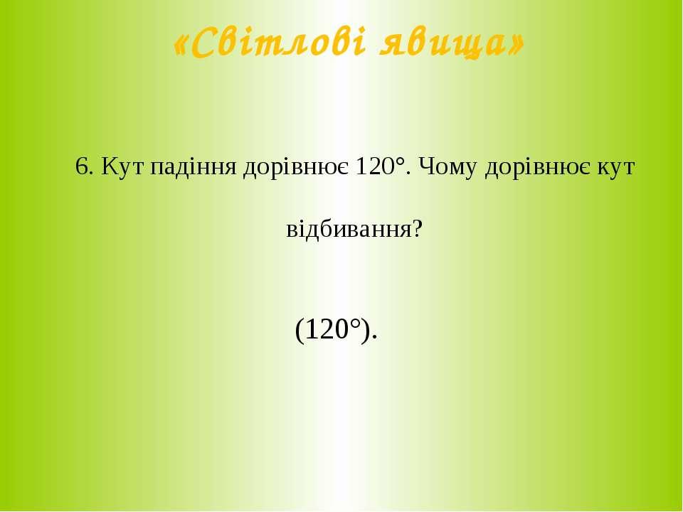 «Світлові явища» 6. Кут падіння дорівнює 120°. Чому дорівнює кут відбивання? ...