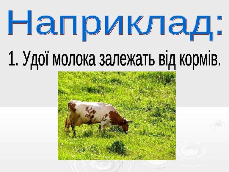 Наприклад: . Удої молока залежать від кормів