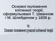Основні положення клітинної теорії, сформульовані Т. Шванном і М. Шлейденом у...