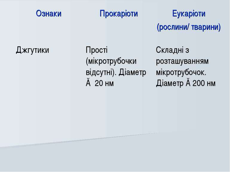 Ознаки Прокаріоти Еукаріоти (рослини/ тварини) Джгутики Прості (мікротрубочки...