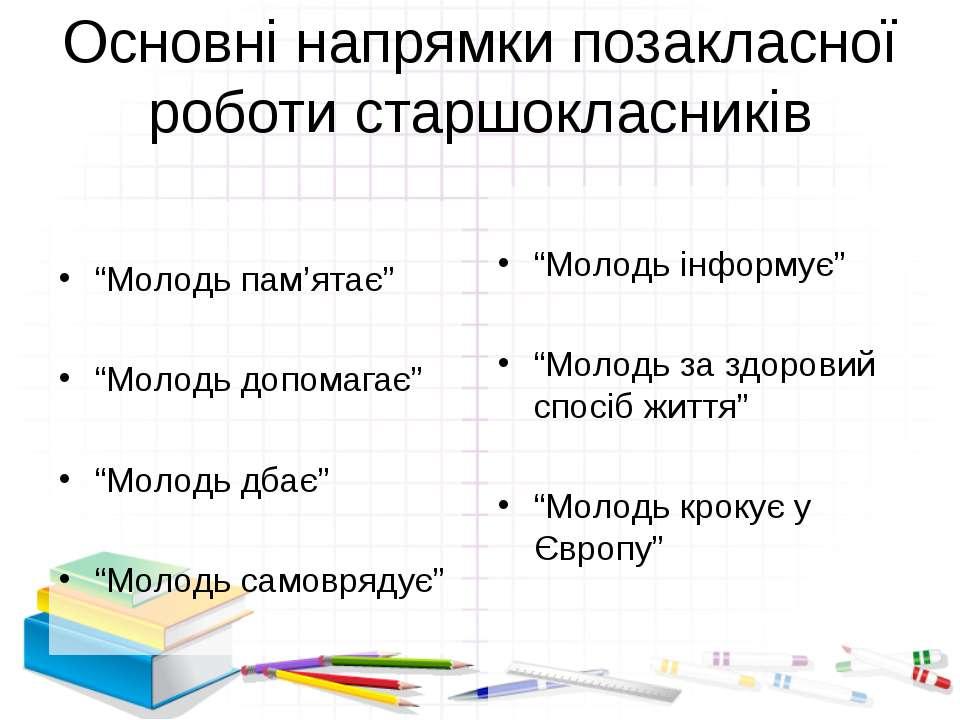 """Основні напрямки позакласної роботи старшокласників """"Молодь пам'ятає"""" """"Молодь..."""