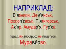 НАПРИКЛАД: В'язники, Дем'янськ, Прокоп'євськ, П'ятигорськ, Ак'яр, Амудар'я, Г...