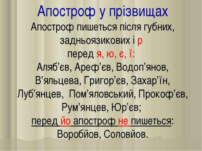 Апостроф у прізвищах Апостроф пишеться після губних, задньоязикових і р перед...
