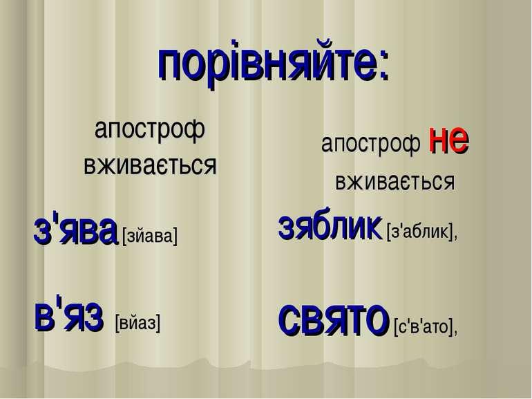 порівняйте: апостроф вживається апостроф не вживається з'ява [зйава] зяблик [...