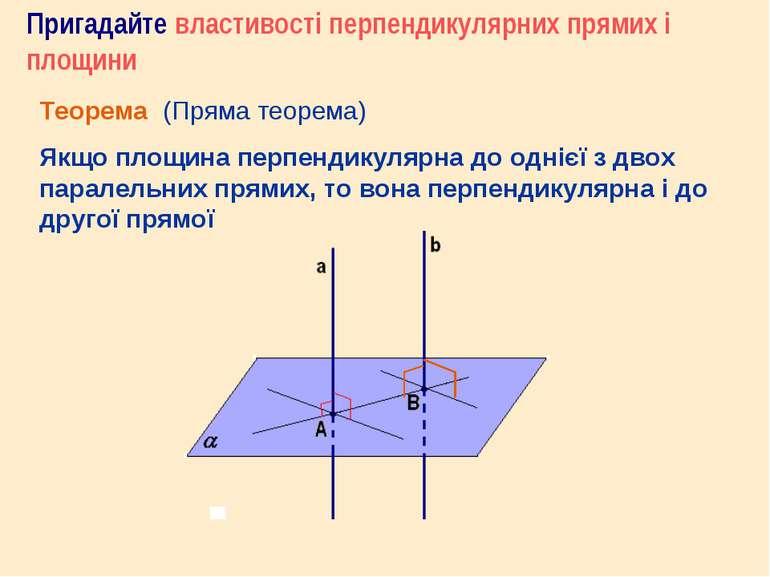 Пригадайте властивості перпендикулярних прямих і площини Теорема (Пряма теоре...