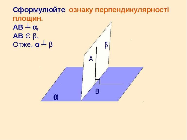 Сформулюйте ознаку перпендикулярності площин. АВ ┴ α, АВ Є β. Отже, α ┴ β α β...