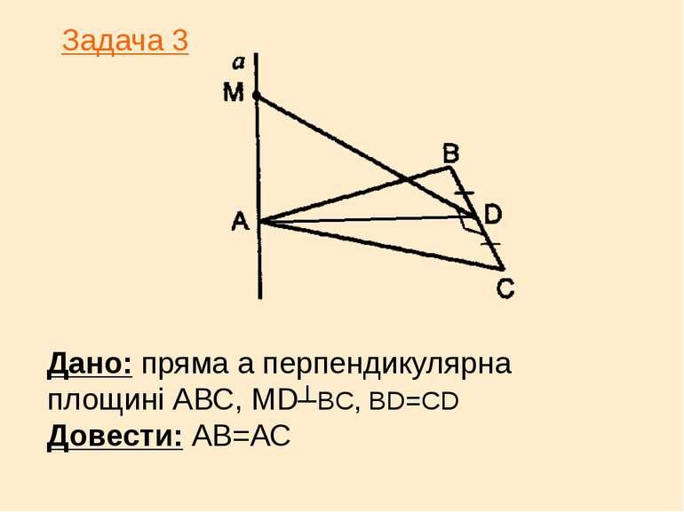 Дано: пряма а перпендикулярна площині АВС, МD┴BC, BD=CD Довести: АВ=АС Задача 3