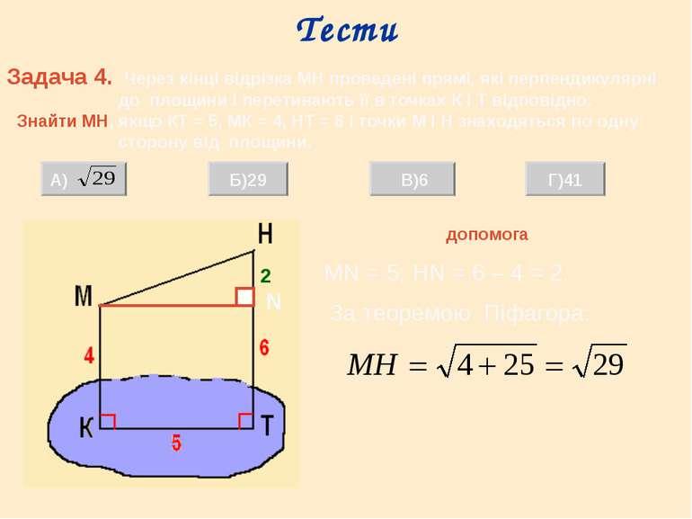 Тести Задача 4. Через кінці відрізка МН проведені прямі, які перпендикулярні ...