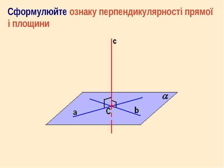 Сформулюйте ознаку перпендикулярності прямої і площини