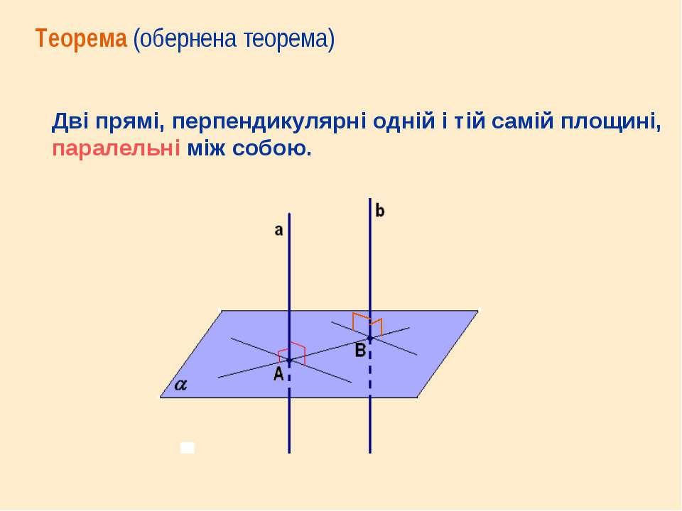 Дві прямі, перпендикулярні одній і тій самій площині, паралельні між собою. Т...