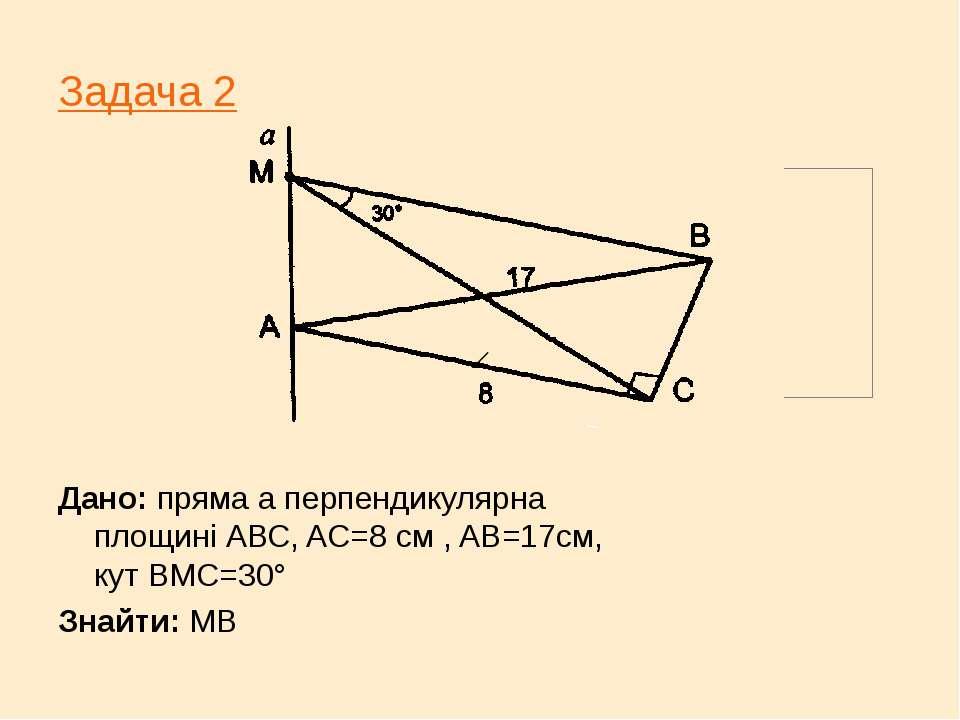 Задача 2 Дано: пряма а перпендикулярна площині АВС, AC=8 см , AB=17см, кут ВМ...