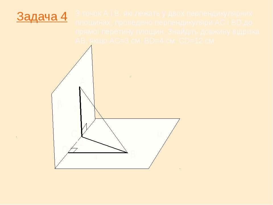 Задача 4 β α А С В D З точок А і В, які лежать у двох перпендикулярних плошин...